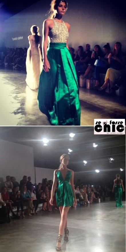 """O verde-esmeralda, que será """"a cor de 2013"""" apareceu em modelos lindos, um longo e um curto."""